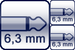 Plug 2p. 6,3 mm<br>2x Plug 2p. 6,3 mm
