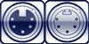 XLR 5p. female <br> XLR 5p. male <br>3-poles assigned