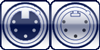 XLR 5p. female <br>XLR 5p. male<br>5-poles assigned
