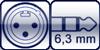 XLR male<br>Plug 3p. 6,3 mm