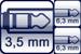Cable jack 3p. 3,5 mm<br>2x Plug 3p. 6,3 mm
