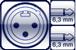 XLR 3p. male<br>2x Plug 2p. 6,3mm